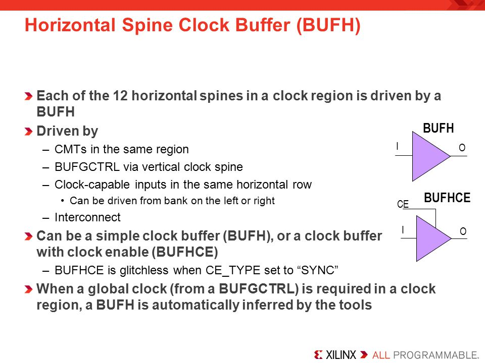 Horizontal Spine Clock Buffer (BUFH)