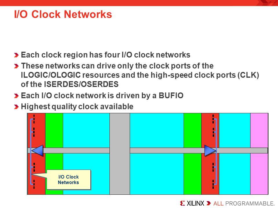 I/O Clock Networks Each clock region has four I/O clock networks