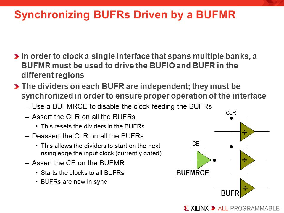 Synchronizing BUFRs Driven by a BUFMR