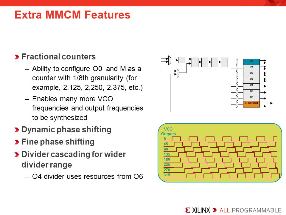 Extra MMCM Features Fractional counters Dynamic phase shifting