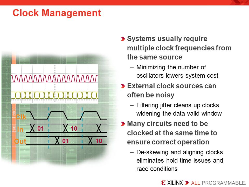 Clock Management Systems usually require multiple clock frequencies from the same source. Minimizing the number of oscillators lowers system cost.