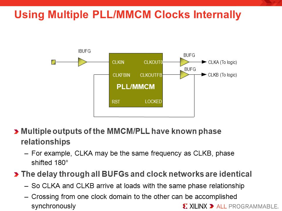 Using Multiple PLL/MMCM Clocks Internally