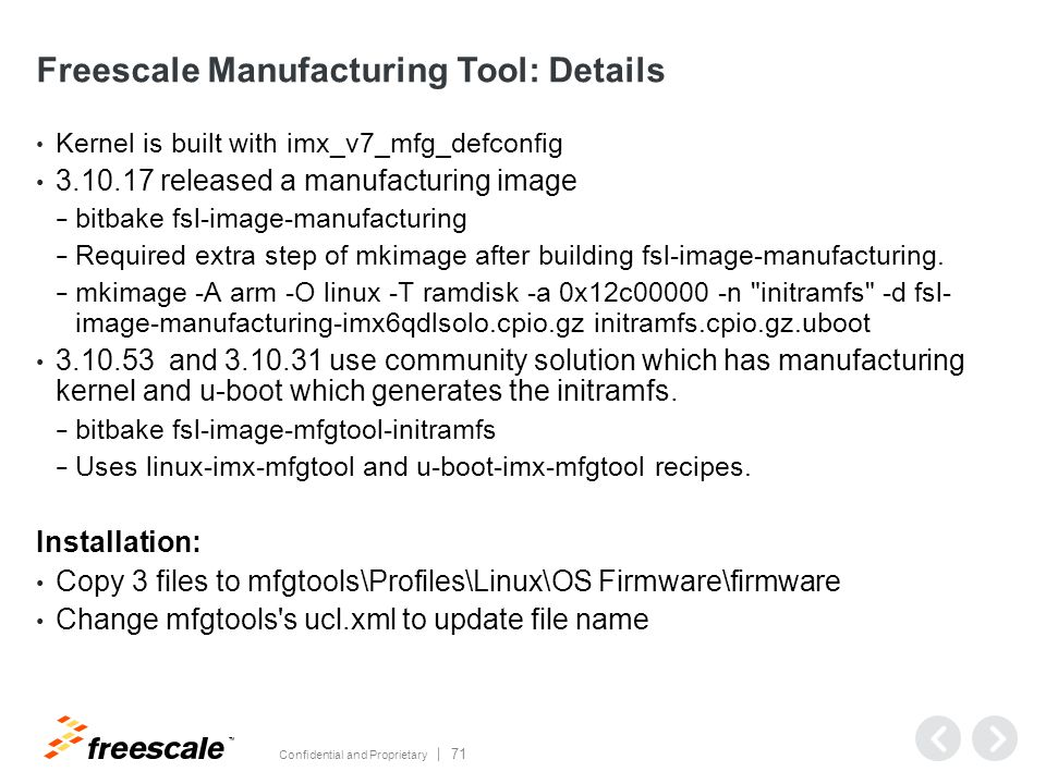 Freescale Manufacturing Tool: Kernel Configuration