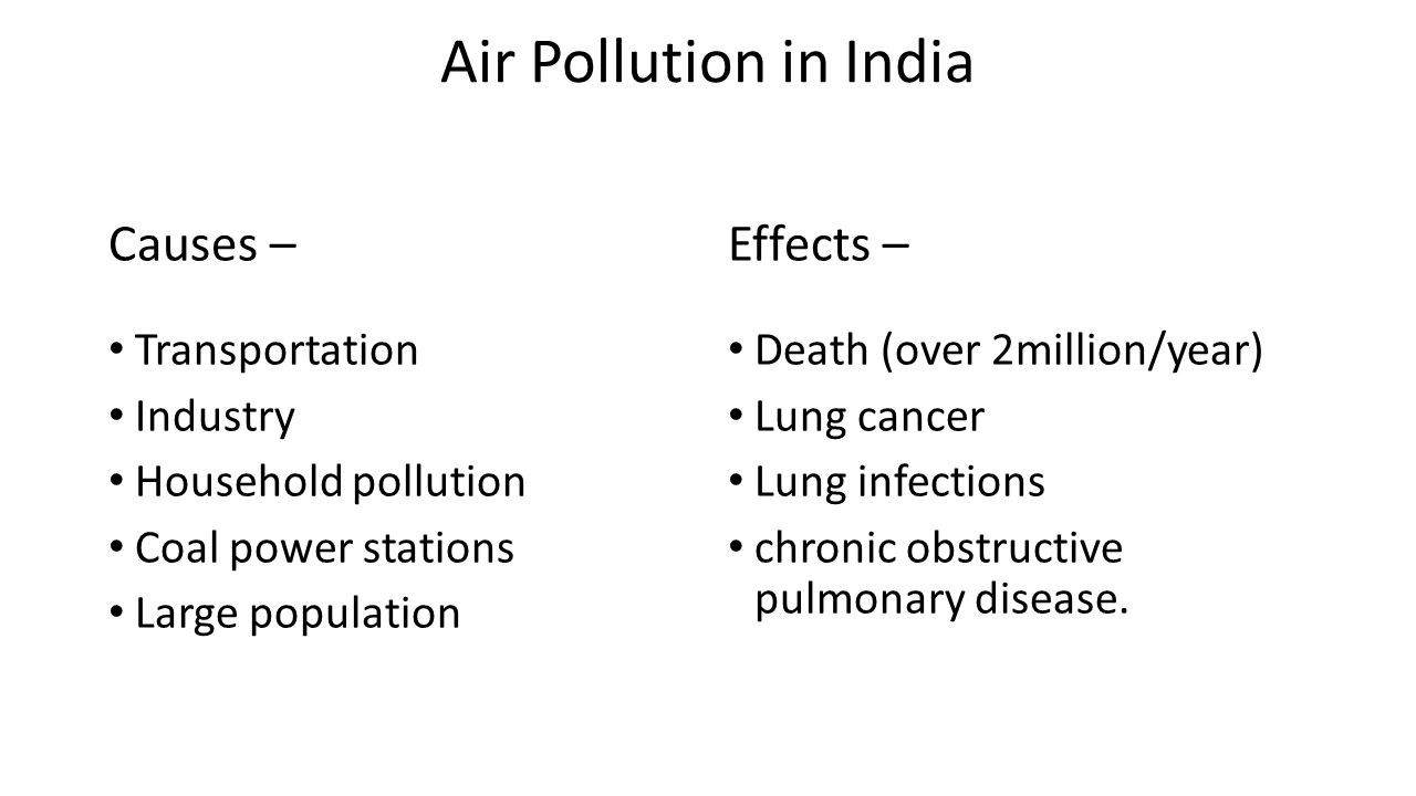 Air Pollution in India Causes – Effects – Transportation Industry