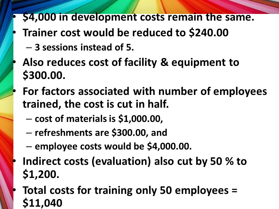$4,000 in development costs remain the same.