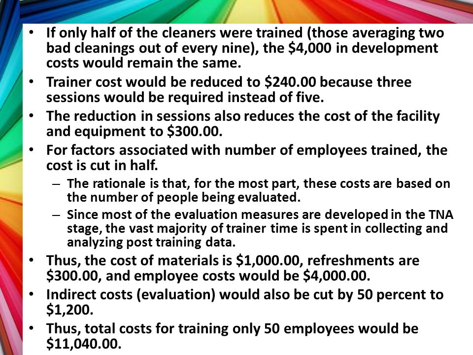 Indirect costs (evaluation) would also be cut by 50 percent to $1,200.