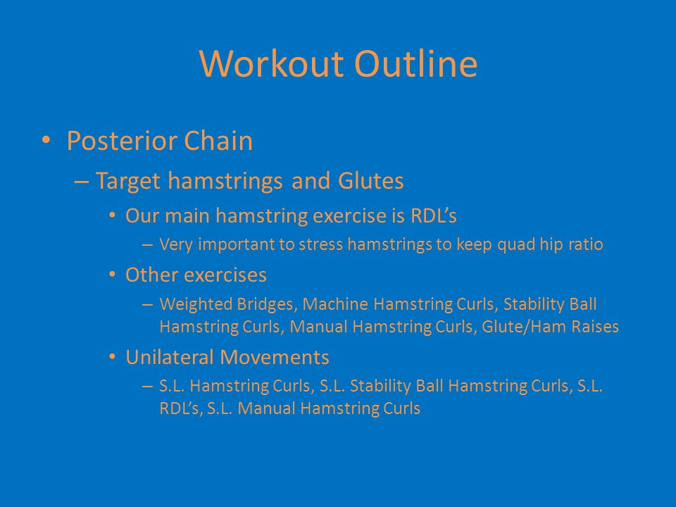 Workout Outline Posterior Chain Target hamstrings and Glutes