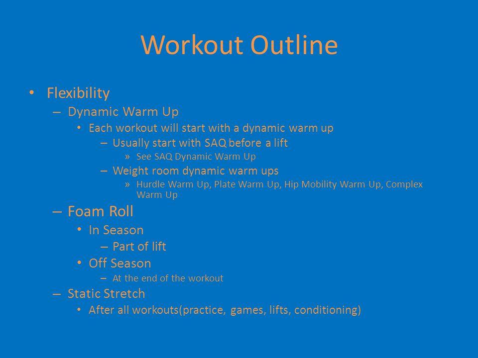 Workout Outline Flexibility Foam Roll Dynamic Warm Up In Season