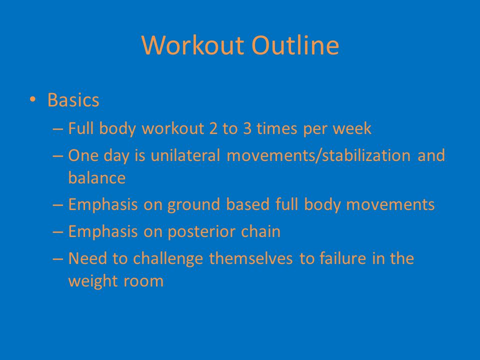 Workout Outline Basics Full body workout 2 to 3 times per week