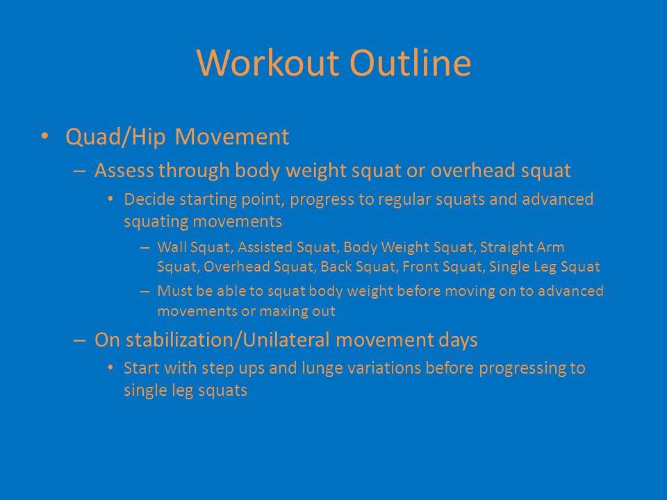 Workout Outline Quad/Hip Movement
