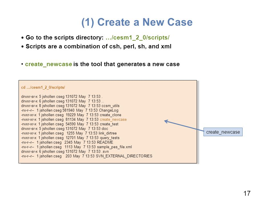 (1) Create a New Case Go to the scripts directory: …/cesm1_2_0/scripts/ Scripts are a combination of csh, perl, sh, and xml.