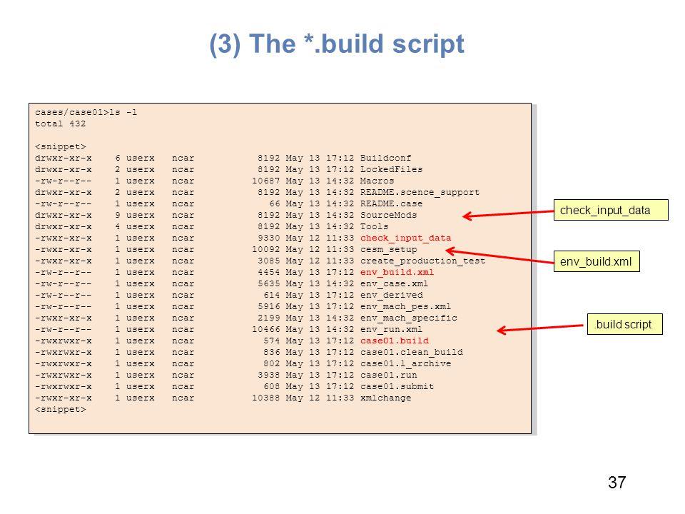 (3) The *.build script 37 check_input_data env_build.xml .build script