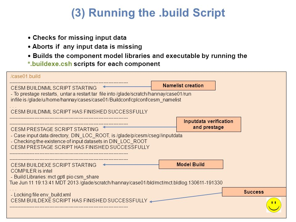 (3) Running the .build Script Inputdata verification and prestage