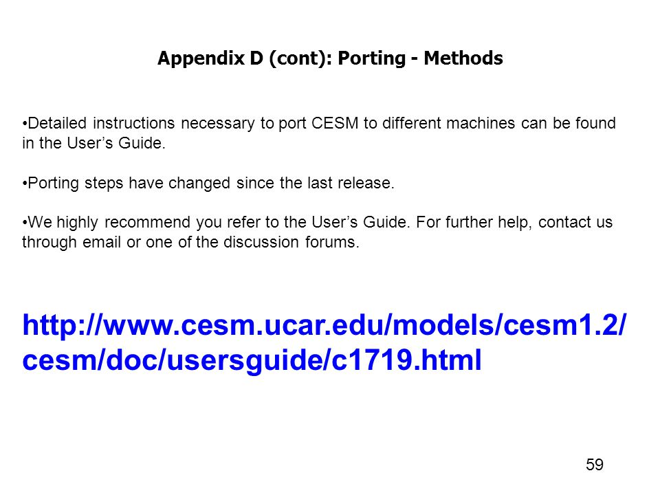 Appendix D (cont): Porting - Methods