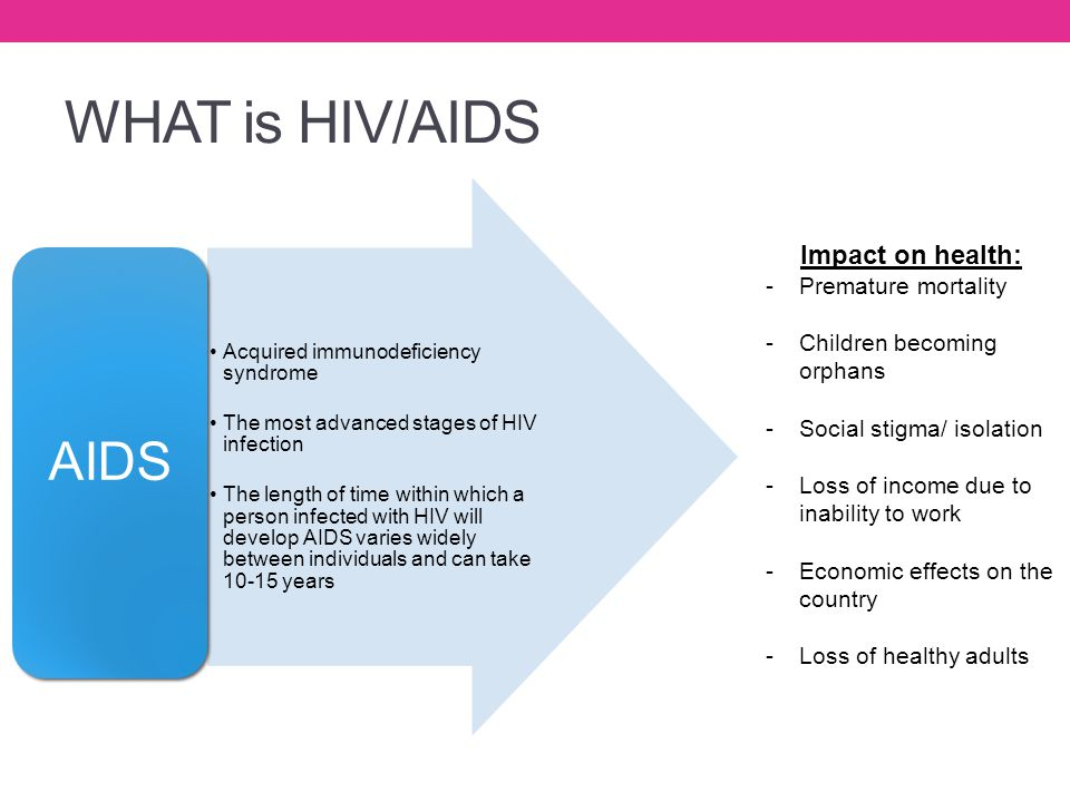WHAT is HIV/AIDS AIDS Impact on health: Premature mortality
