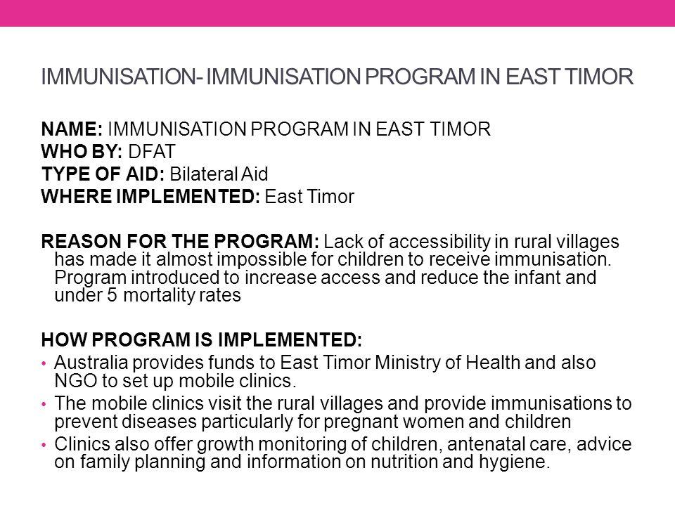 IMMUNISATION- IMMUNISATION PROGRAM IN EAST TIMOR