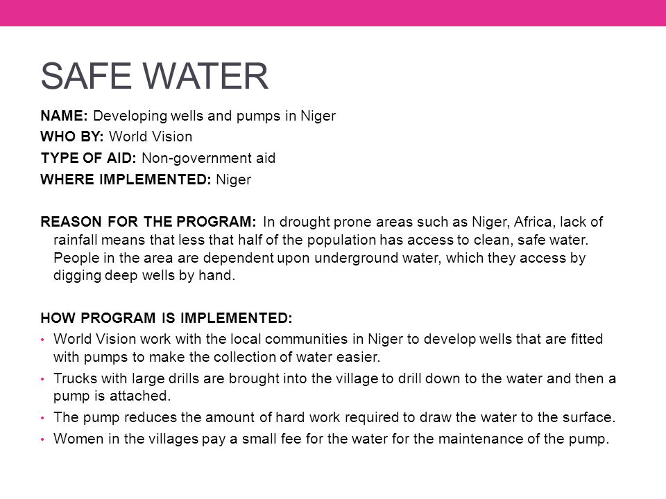 SAFE WATER NAME: Developing wells and pumps in Niger