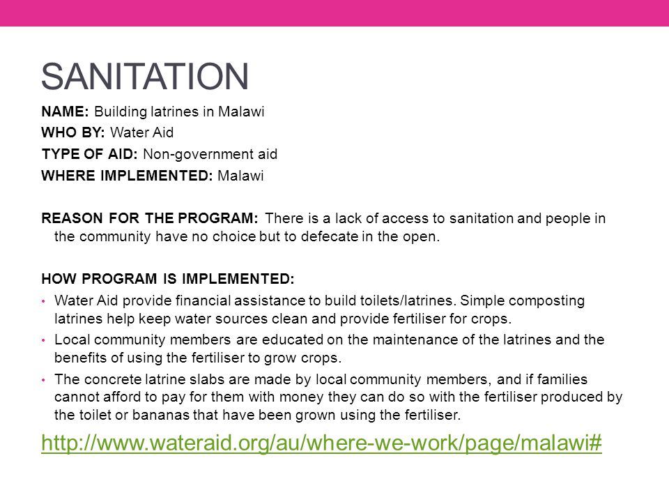 SANITATION http://www.wateraid.org/au/where-we-work/page/malawi#