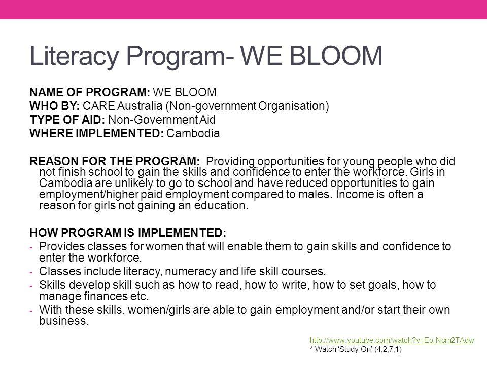 Literacy Program- WE BLOOM