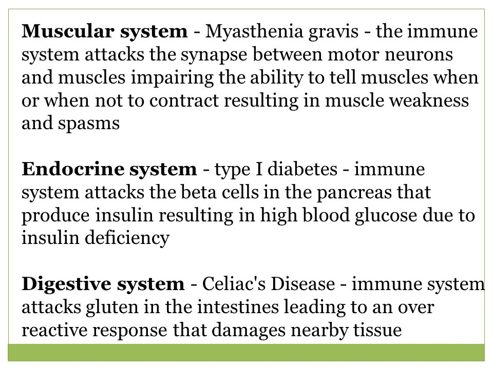 Muscular system - Myasthenia gravis - the immune system attacks the synapse between motor neurons and muscles impairing the ability to tell muscles when or when not to contract resulting in muscle weakness and spasms Endocrine system - type I diabetes - immune system attacks the beta cells in the pancreas that produce insulin resulting in high blood glucose due to insulin deficiency Digestive system - Celiac s Disease - immune system attacks gluten in the intestines leading to an over reactive response that damages nearby tissue