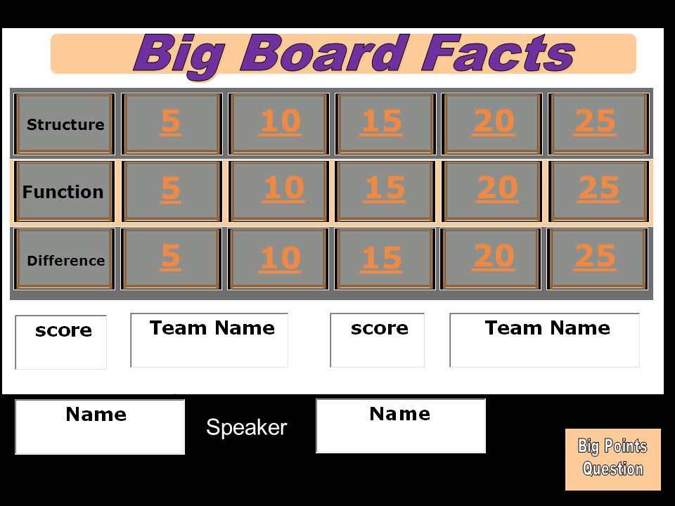 Big Board Facts 5 10 15 20 25 5 10 15 20 25 5 10 15 20 25 Speaker