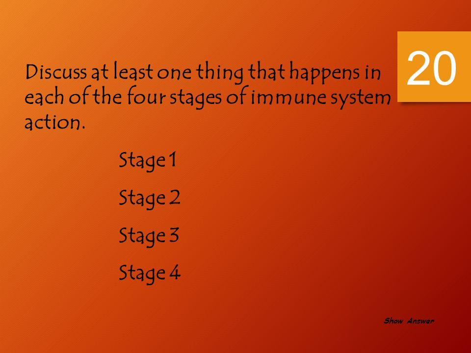 20 Discuss at least one thing that happens in each of the four stages of immune system action. Stage 1.