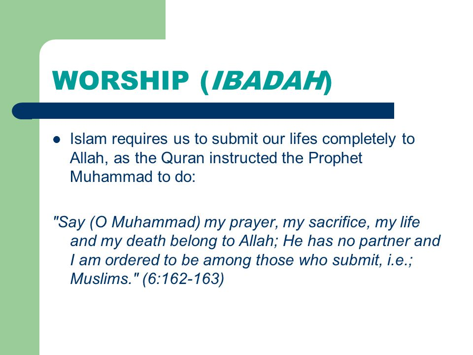 WORSHIP (IBADAH) Islam requires us to submit our lifes completely to Allah, as the Quran instructed the Prophet Muhammad to do: