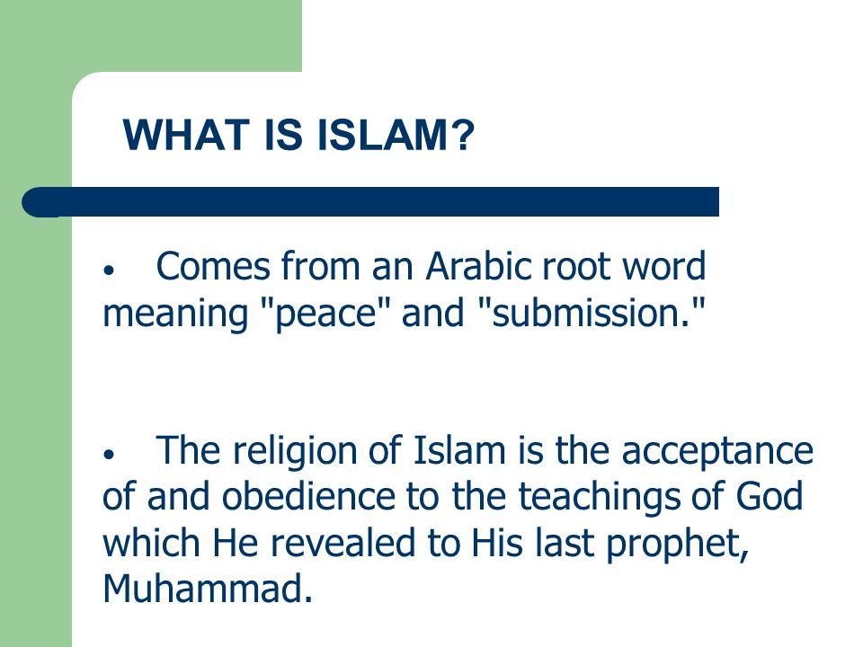 WHAT IS ISLAM Comes from an Arabic root word meaning peace and submission.