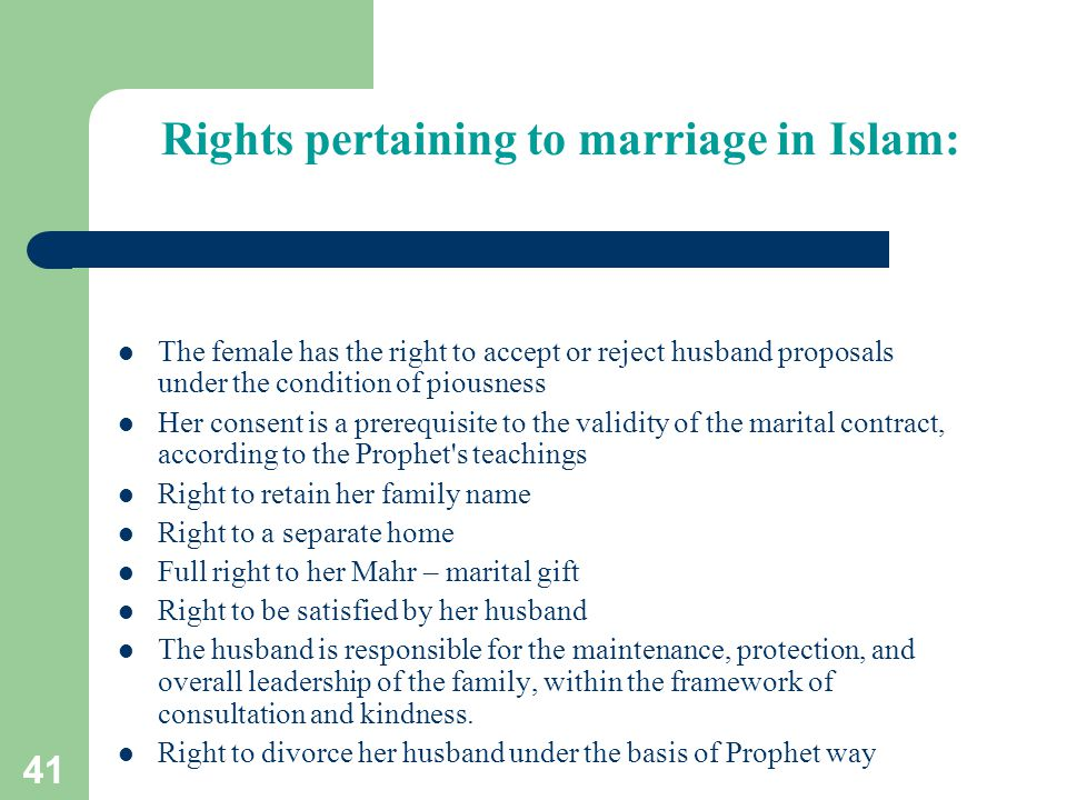 Rights pertaining to marriage in Islam: