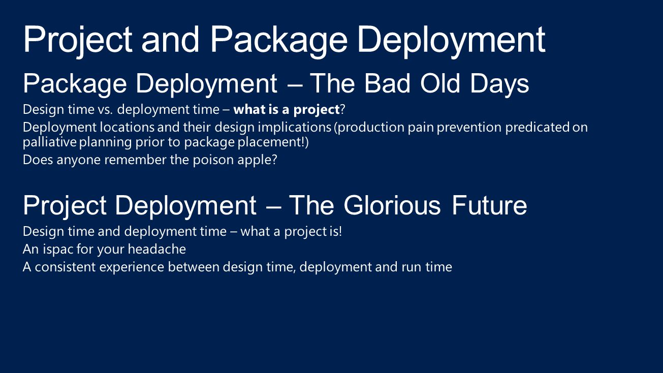 Project and Package Deployment