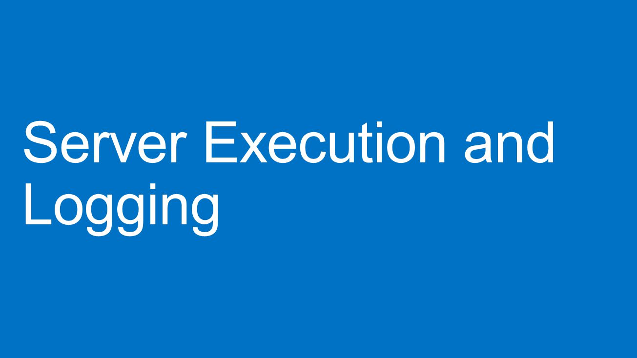 Server Execution and Logging