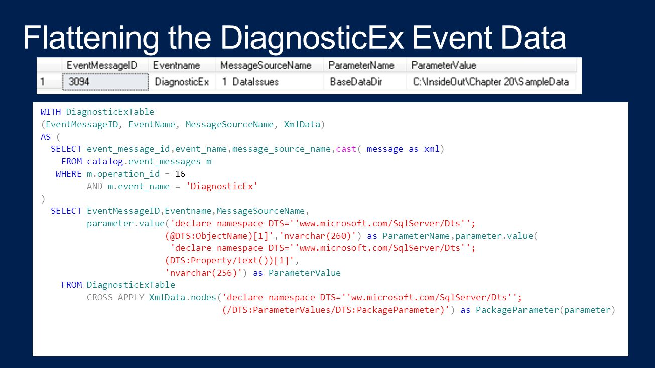 Flattening the DiagnosticEx Event Data
