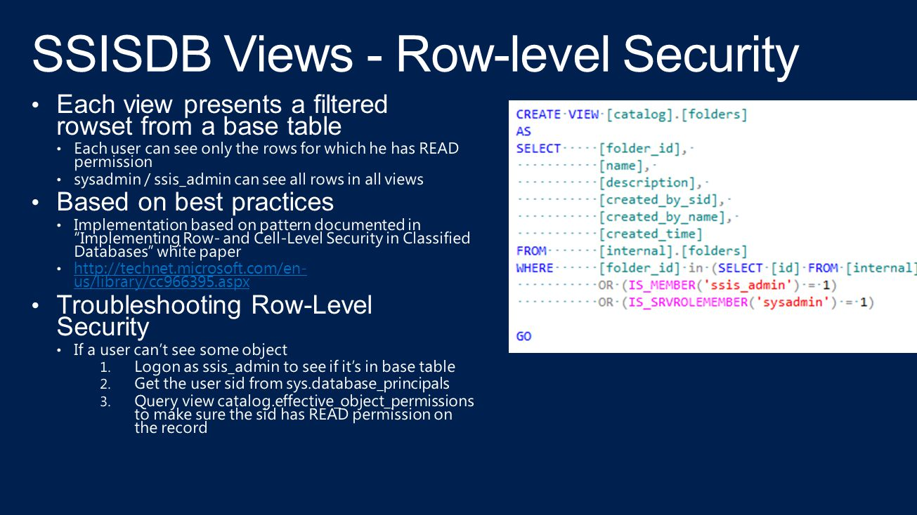 SSISDB Views - Row-level Security