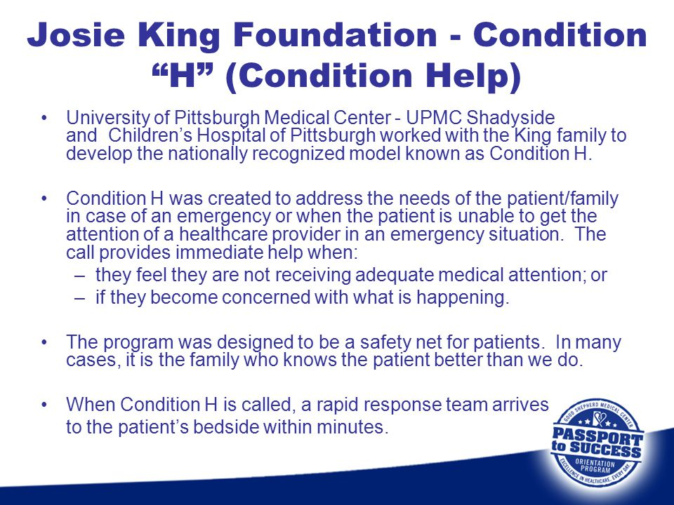 Josie King Foundation - Condition H (Condition Help)