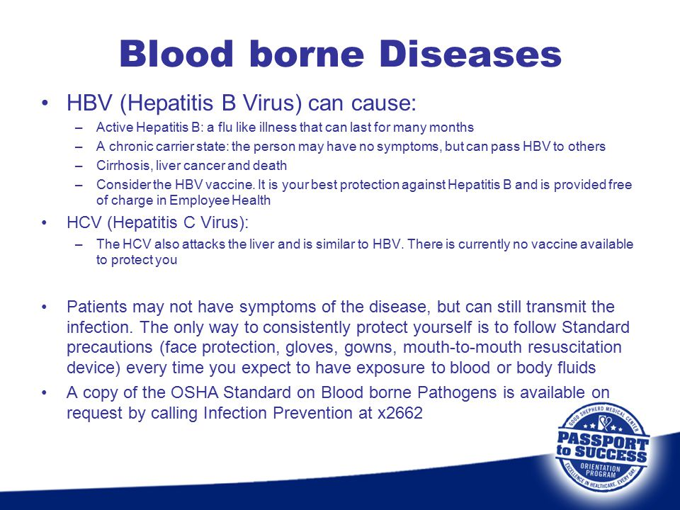 Blood borne Diseases HBV (Hepatitis B Virus) can cause: