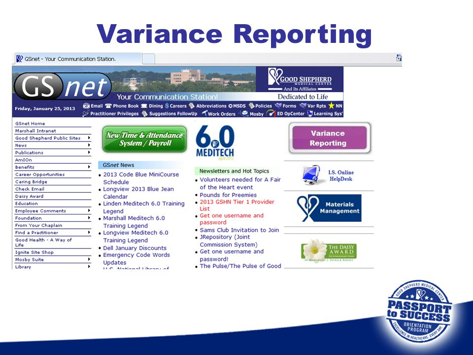 Variance Reporting