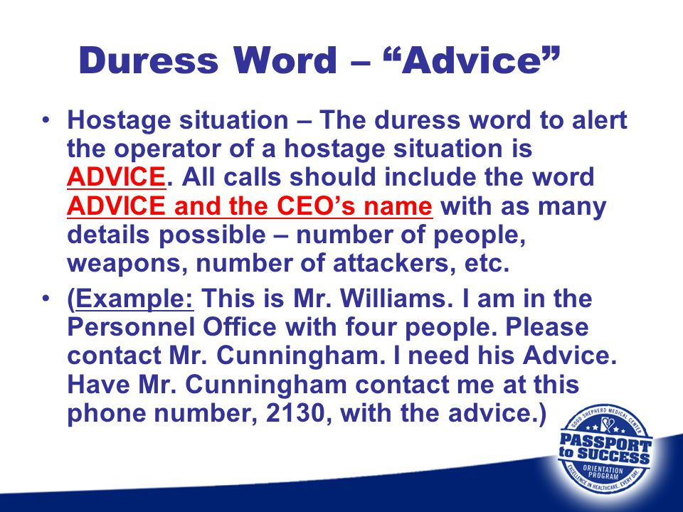 Duress Word – Advice