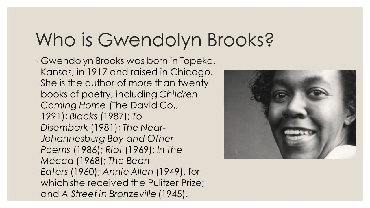 a description of gwendolyn brooks a black poet from kansas