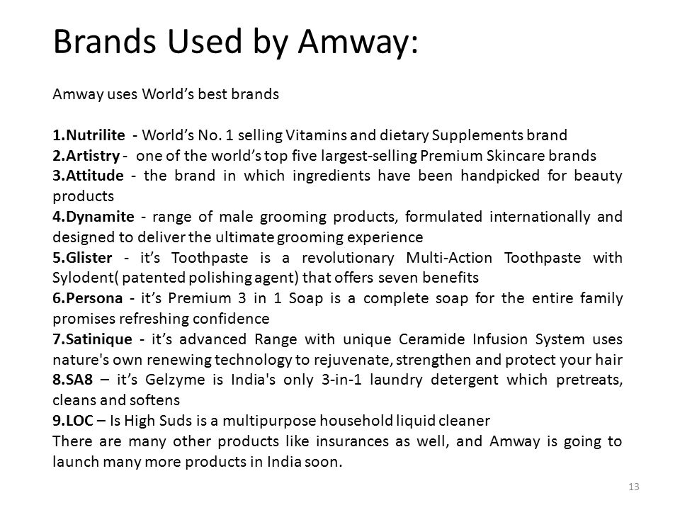 Brands Used by Amway: Amway uses World's best brands