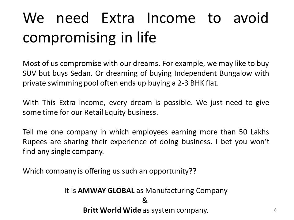 We need Extra Income to avoid compromising in life