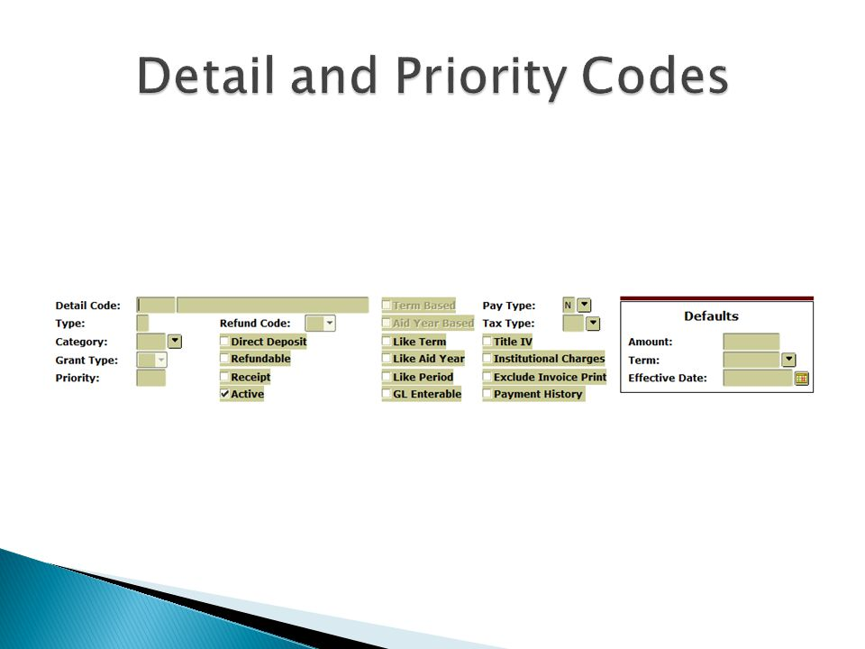 Detail and Priority Codes