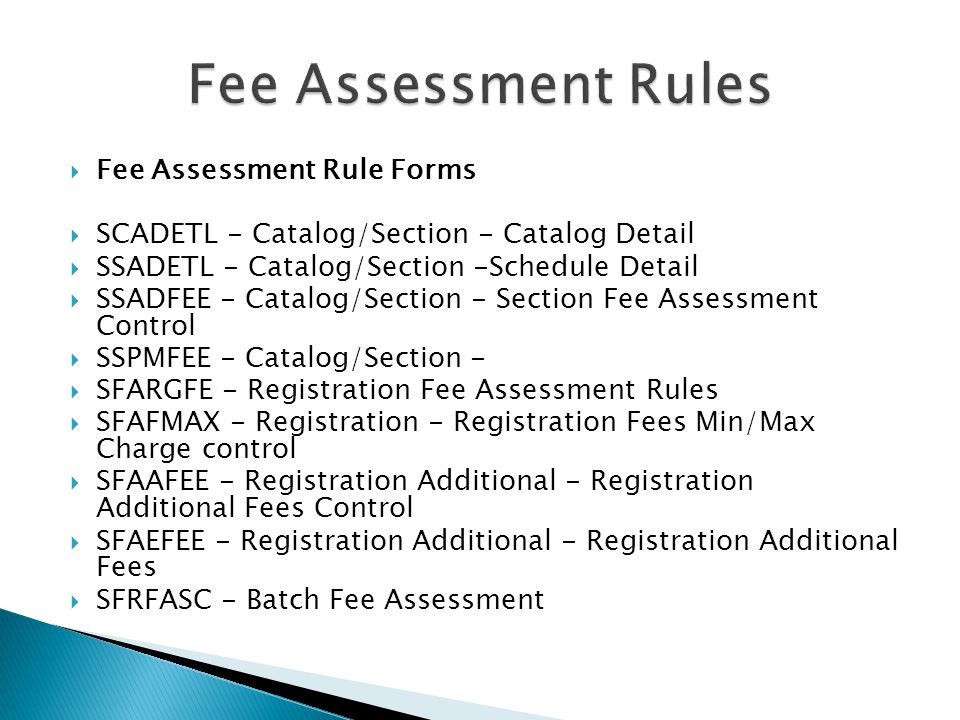 Fee Assessment Rules Fee Assessment Rule Forms