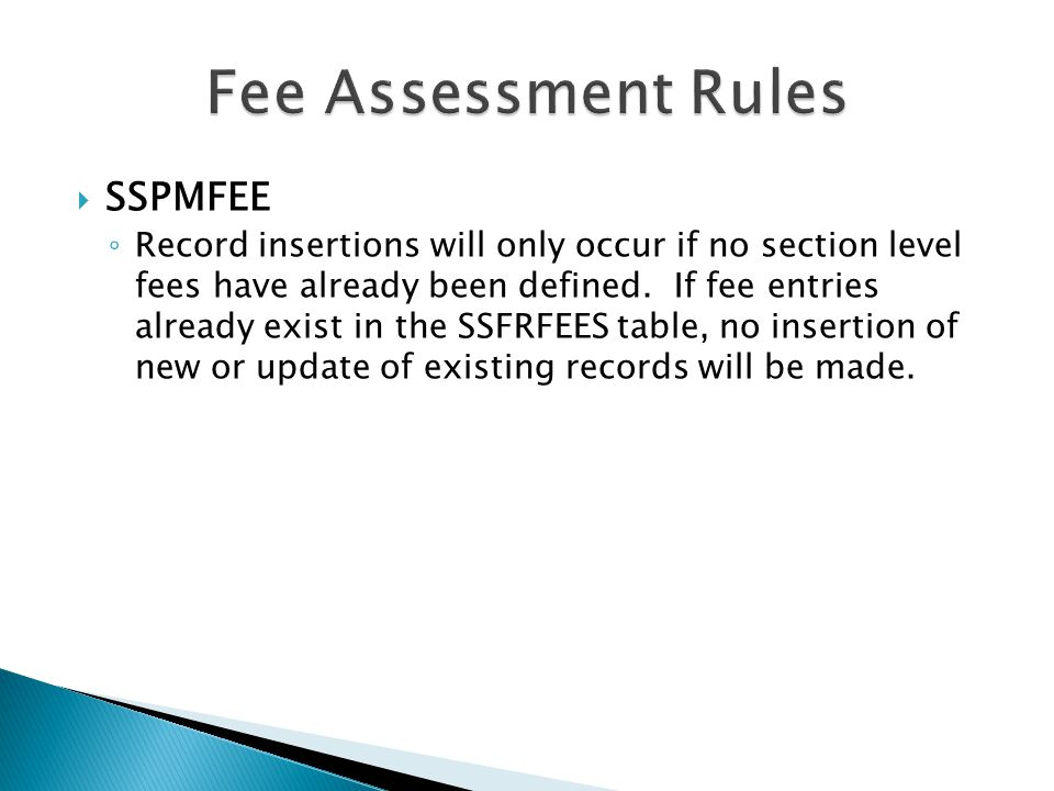 Fee Assessment Rules SSPMFEE