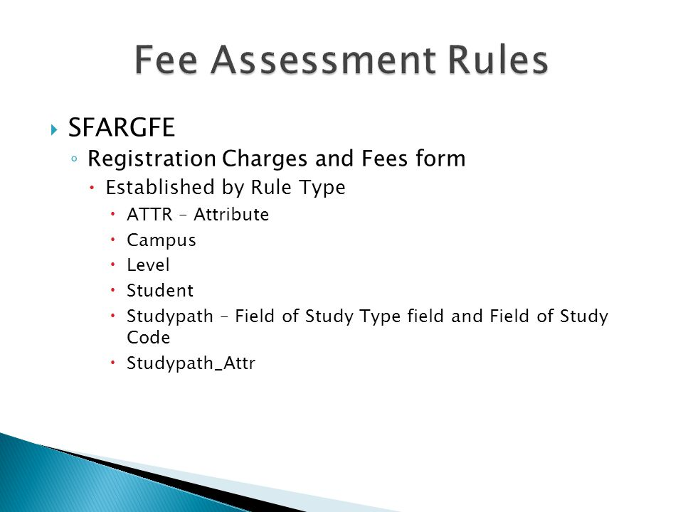 Fee Assessment Rules SFARGFE Registration Charges and Fees form