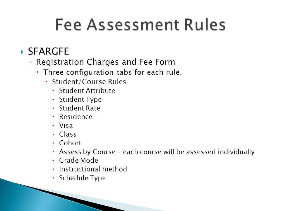 Fee Assessment Rules SFARGFE Registration Charges and Fee Form