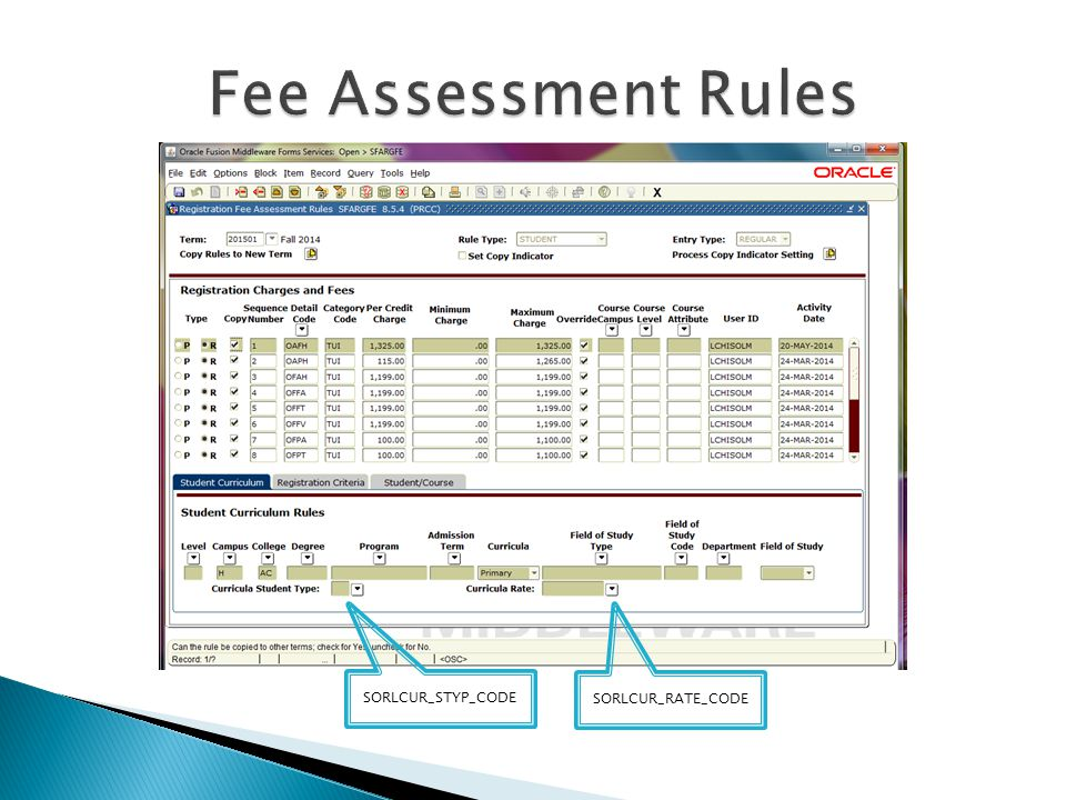 Fee Assessment Rules SORLCUR_STYP_CODE SORLCUR_RATE_CODE
