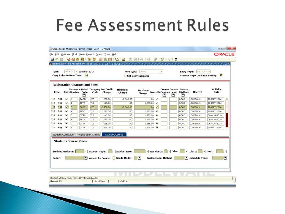 Fee Assessment Rules