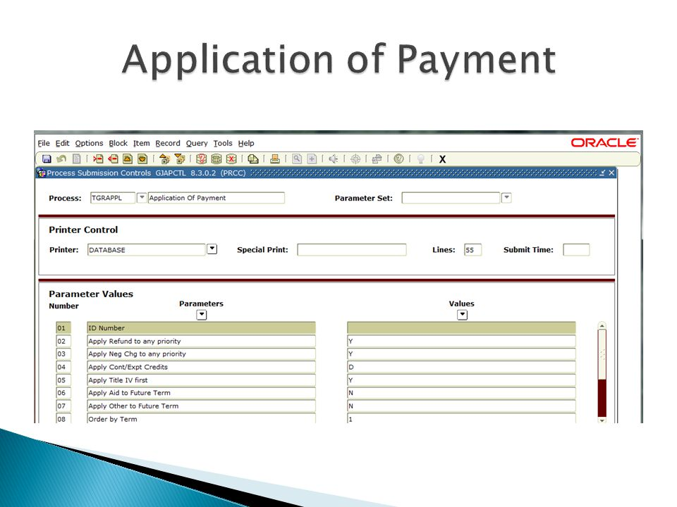 Application of Payment