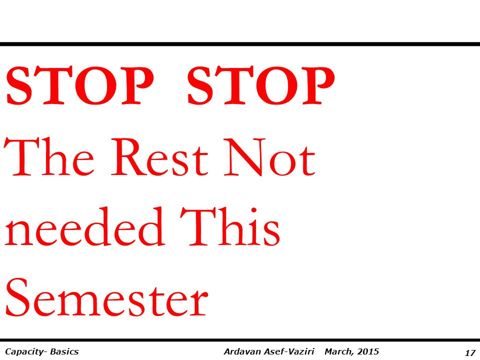 STOP STOP The Rest Not needed This Semester
