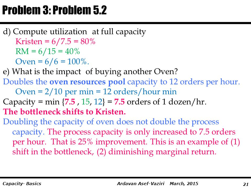 Problem 3: Problem 5.2 d) Compute utilization at full capacity